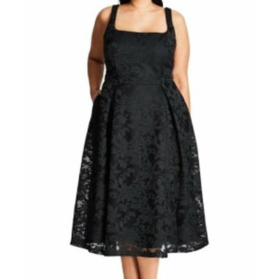 City Chic シティシック ファッション ドレス City Chic NEW Black Womens Size S/16W Plus Floral Lace A-Line Dress