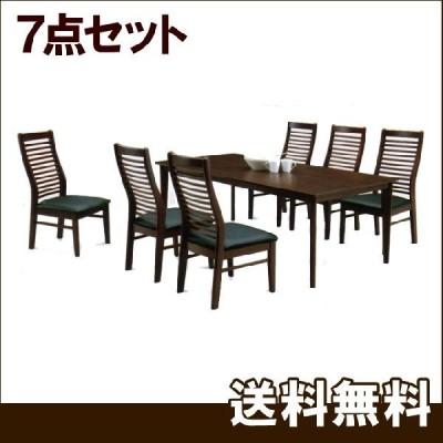 ダイニングテーブルセット 7点セット 6人用 木製 北欧風
