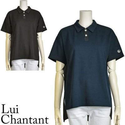 ポロシャツ レディース 半袖 おしゃれ 異素材 トップス ネイビー ブラック Lui Chantant 40代 50代