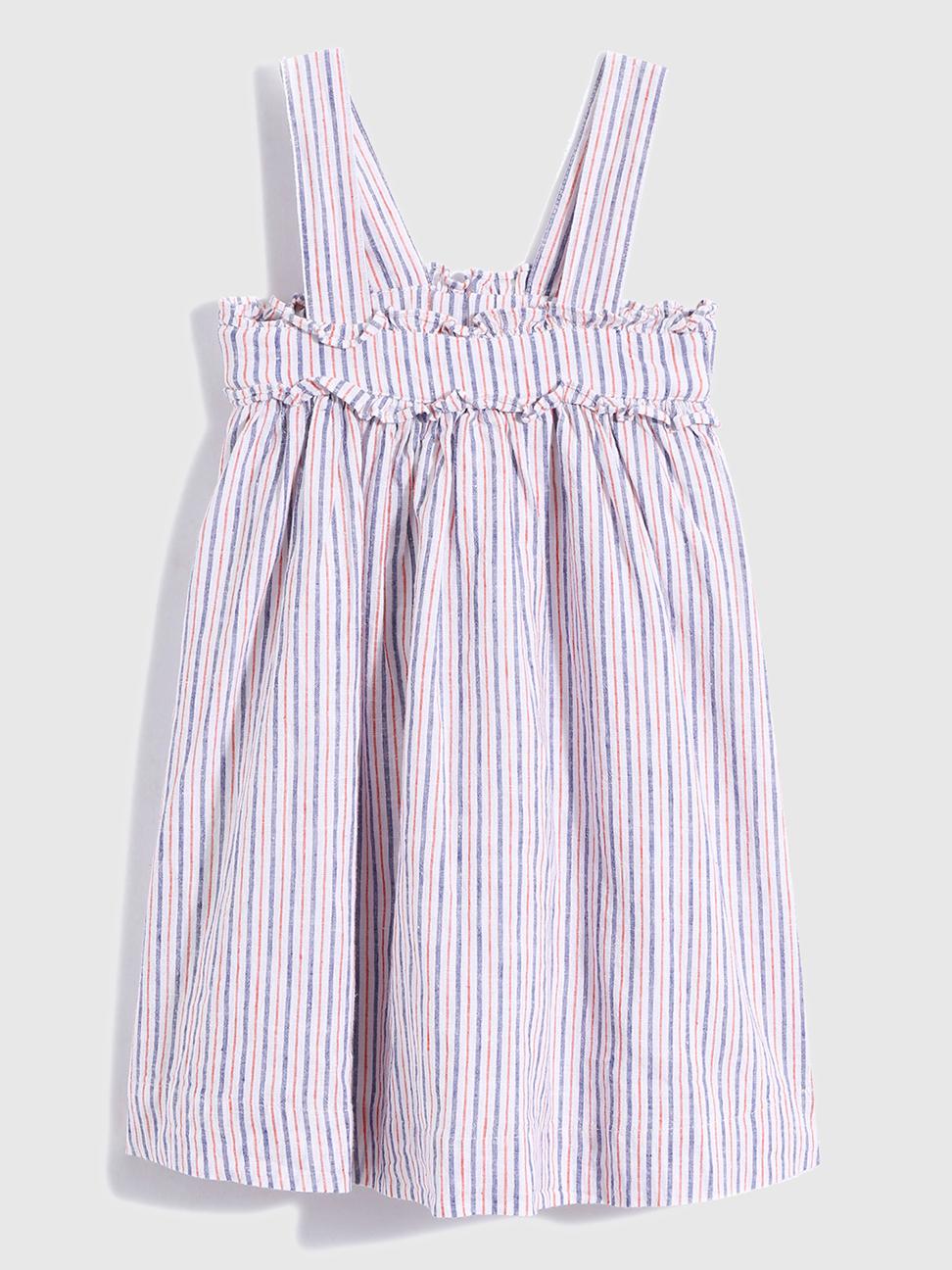 幼童 亞麻混紡寬鬆吊帶裙