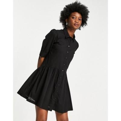 ピンキー Pimkie レディース ワンピース ワンピース・ドレス button front smock mini poplin dress in black ブラック