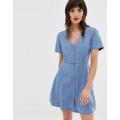 エイソス レディース ワンピース トップス ASOS DESIGN denim tea dress with mock horn buttons in midwash blue