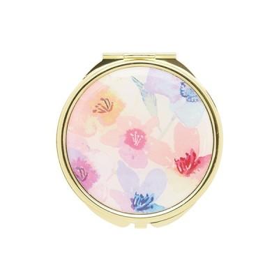 手鏡 ミラー 拡大鏡 キラキラ プレゼント コンパクトミラー フラワーパターン GMR0054-WH ホワイト 雑貨 おしゃれ かわいい