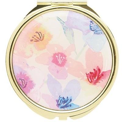 手鏡 コンパクトミラー フラワーパターン GMR0054-WH ホワイト 雑貨 かわいい 人気 おしゃれ