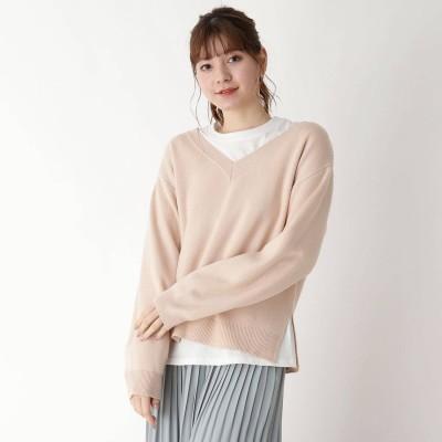 ピンクアドベ pink adobe 【M-LL/SET】ロンT付き Vネックニット (ピンクベージュ)