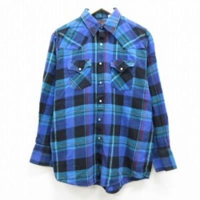 古着 長袖 ウエスタン フランネル シャツ 90年代 90s コットン 青紫系他 チェック Lサイズ 中古 メンズ トップス シャツ トップス 古着