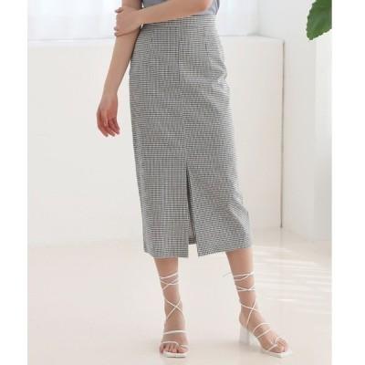 スカート チェック柄 Hライン 前スリット スカート