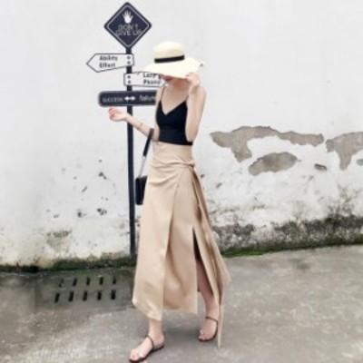 ラップスカート ウエストリボン きれいめ レディース 上品 フェミニン エレガント 體型カバー 大きいサイズ  春 スカート 春