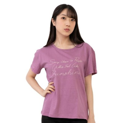 レディース プリント 半袖Tシャツ 杢グレー ネイビー パープル インナーとして