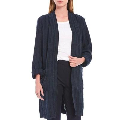 エイリーンフィッシャー レディース ジャケット・ブルゾン アウター Textured Organic Linen Stripe Long Jacket