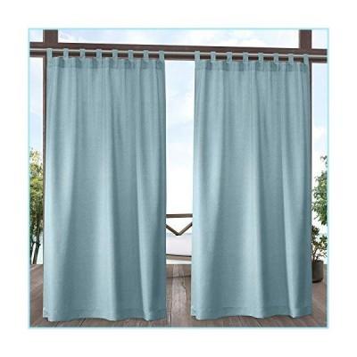新品Exclusive Home Curtains Biscayne Indoor/Outdoor Two Tone Textured Tab Top Curtain Panels, 54x84, Pool Blue