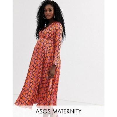 エイソス ASOS Maternity レディース ワンピース マタニティウェア ラップドレス マキシ丈 asos design maternity wrap maxi dress in bright snake print