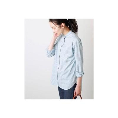 ニューヨーカー NEWYORKER コードストライプ バンドカラーシャツ (サックス)