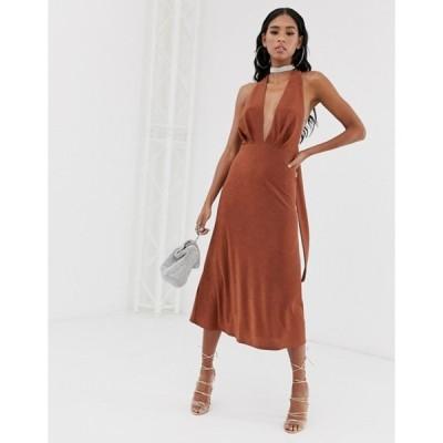 エイソス レディース ワンピース トップス ASOS DESIGN 70's plunge sparkly halter tie dress