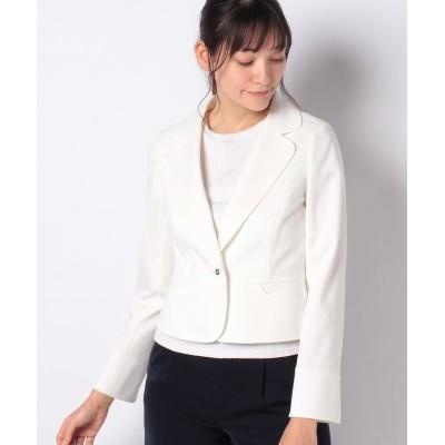【ミス ジェイ】 グログランポンチ テーラードジャケット レディース ホワイト 40 MISS J