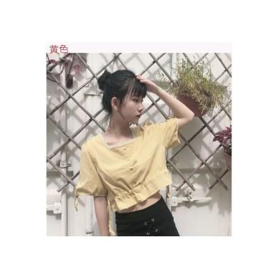 【送料無料】夏 韓国風 着やせ 着やせ ミニ丈 フリル 半袖のワイシャツ トッ   364331_A63278-9570757