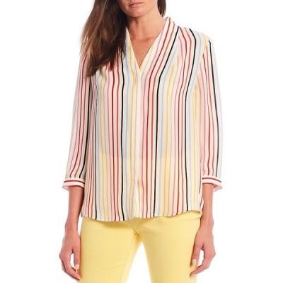 インベストメンツ レディース シャツ トップス 3/4 Sleeve Stripe Button Front Top Spring Stripe