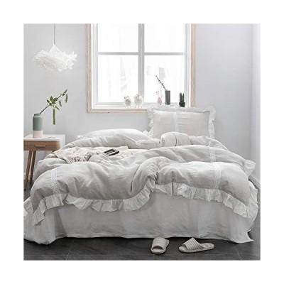 Simple&Opulence 100?%ストーンウォッシュ・リネン フリル 花柄 亜麻の羽毛布団カバーセット ツイン 13050109902