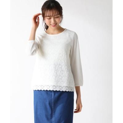 (Honeys/ハニーズ)8分袖前身レースTシャツ/レディース オフホワイト