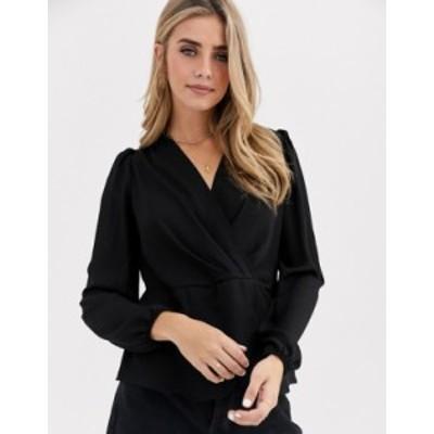 ニュールック レディース シャツ トップス New Look twist front blouse in black Black