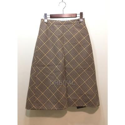 経堂) バレンシアガ Balenciaga ボックスプリーツ チェック スカート サイズ34 S ウール ベージュ イタリア製