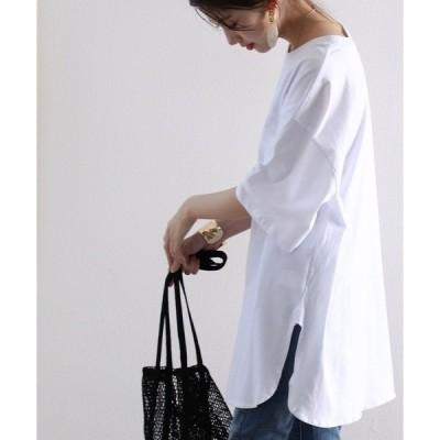 tシャツ Tシャツ サイドスリットのロング丈クルーネックビッグTシャツ(半袖)