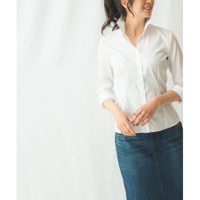 【ナラカミーチェ】 コットンツイルスタンド衿シャツ レディース ホワイト 1 NARA CAMICIE