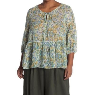 プレイオネ レディース シャツ トップス Tie Neck Floral Print Blouse (Plus Size) BLUSH FLORAL