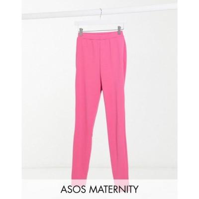 エイソス ASOS Maternity レディース スキニー・スリム マタニティウェア Asos Design Maternity Jersey Over Bump Slim Split Front Suit Trousers マゼンタ