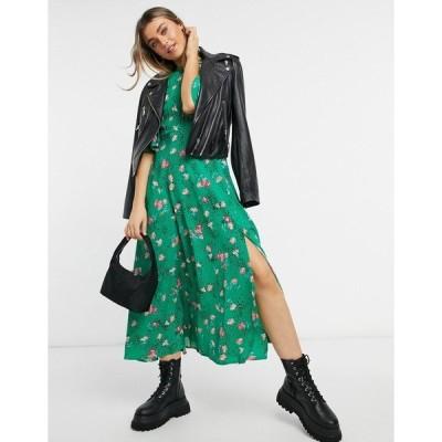 エイソス レディース ワンピース トップス ASOS DESIGN pintuck maxi dress with fluted sleeve in green floral print Green base floral