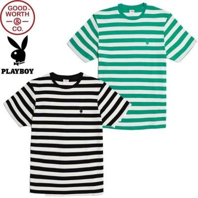GOOD WORTH グッドワース PLAYBOY BUNNY STRIPE TEE プレイボーイ バニー ストライプ T-SHIRTS Tシャツ ボーダー カットソー メンズ レディース 2カラー