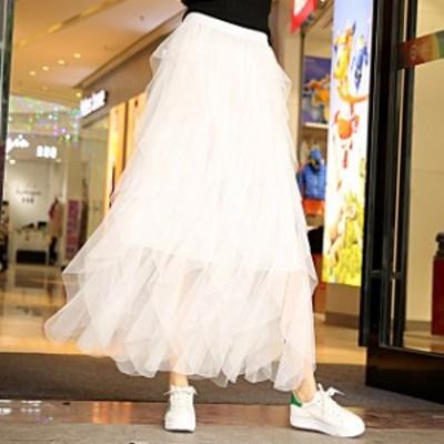 ふんわりボリューミー エンジェル シフォンスカート ロングスカート フレアスカート ロング丈 レディース 全5色  春 新作 P2180