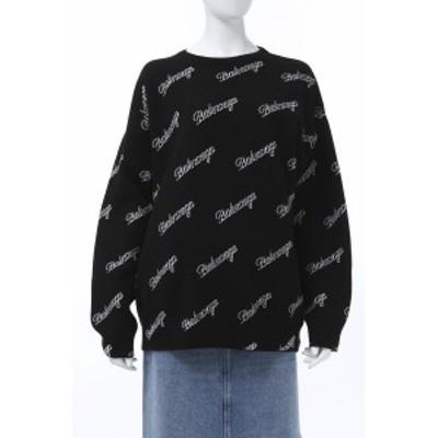 バレンシアガ BALENCIAGA セーター ニット 丸首 クルーネック オーバーサイズ ブラック レディース (646693 T4112) 2021年春夏新作 送料