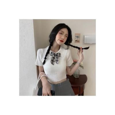 【送料無料】レディース 夏 韓国風 西洋風 半袖 襟 ハング条 ニット ミニ丈 露 | 364331_A63354-9044073