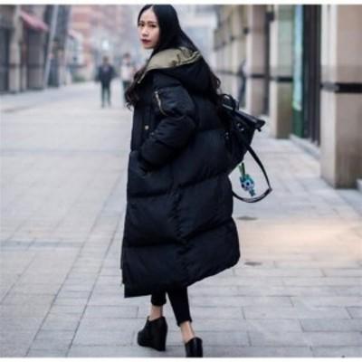 ロングコート レディース ロング丈 中綿ジャケット スプリングコート フード付き ダウンコート アウター 秋 冬 防寒 防風 おしゃれ