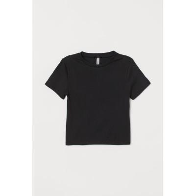 H&M - リブトップス - ブラック