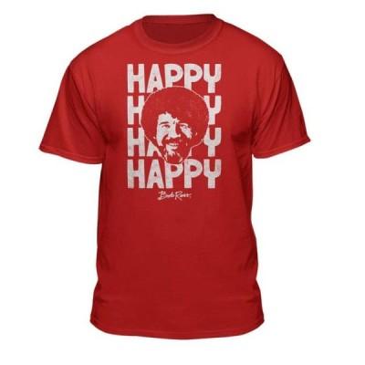 ユニセックス 衣類 トップス Teelocity Bob Ross Happy Graphic T-Shirt (Small - Standard Fit Red) グラフィックティー