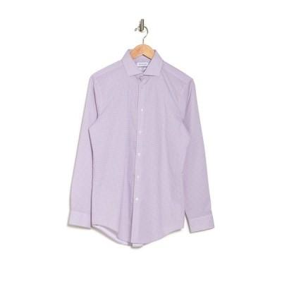 カルバンクライン メンズ シャツ トップス Long Sleeve Slim Fit Dress Shirt BURGANDY MULTI