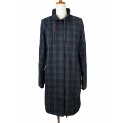 【中古】NUSY ヌージー フェリシモ コート スタンドカラー ブラックウォッチ チェック コットン LT 紺 緑 レディース