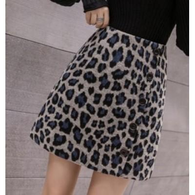 ミニスカート ハイウェストスカート ウール ショート丈 大きいサイズ ゆったり Aライン 秋冬 豹柄 レオパード柄 ブラウン ブルー 大人女