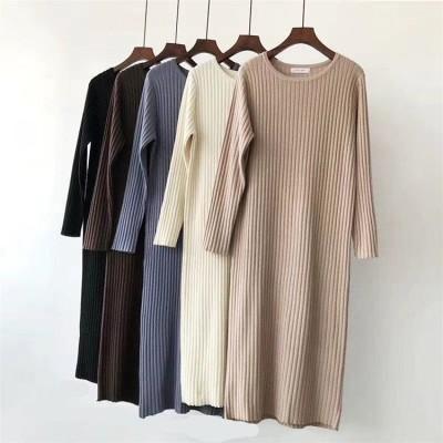 🍒 高レビュー ✨\激伸び/伸縮性ウエスト ニットワンピース 自在感 長袖  ゆったり ニットワンピース カジュアル  かわいい  編み物 ロングワンピース