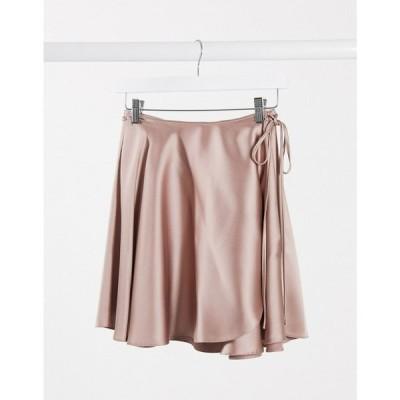 エイソス ASOS DESIGN レディース ミニスカート ラップスカート スカート satin wrap mini skirt in blush pink ベビーピンク