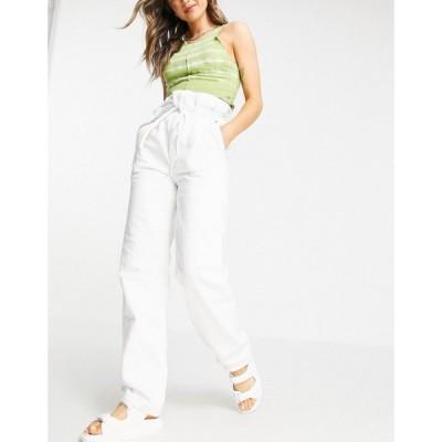 トップショップ Topshop レディース ジーンズ・デニム ボトムス・パンツ High-Waisted Paper Bag Jeans In White ホワイト