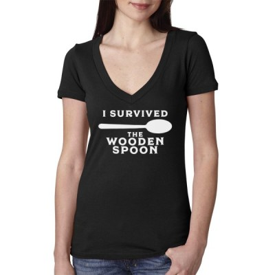 I Survived The Wooden Spoon Women's Cotton V Neck T-Shirt - BlackMediu