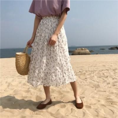 即納品 ロングスカート プリーツ 小花柄 フレア ゴムウエスト カジュアル ホワイト