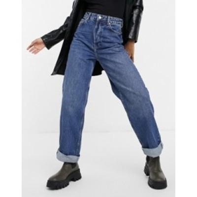 トップショップ レディース デニムパンツ ボトムス Topshop Zed oversized mom jeans in mid wash blue Midwash blue