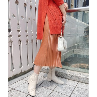【ビッキー】 レザーライクプリーツスカート レディース オレンジ M VICKY