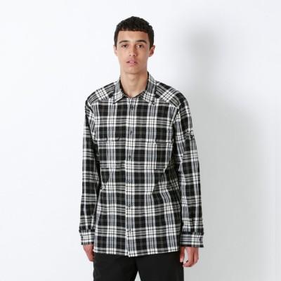 ラブレス LOVELESS RAMPONIスタースタッズ アームスカルチェックシャツ (ブラック)