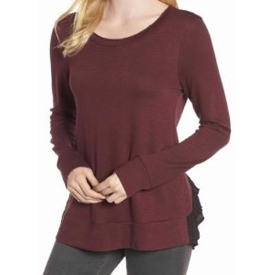 Chelsea28 チェルシートウェンティエイト ファッション トップス Chelsea28 NEW Red Womens Size Medium M Tiered Tulle-Back Sweater