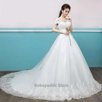 ウェディングドレス2019新作Vネックレース袖トレーンドレスプリンセス結婚式ドレスブライダルホワイトドレスパニエ付き